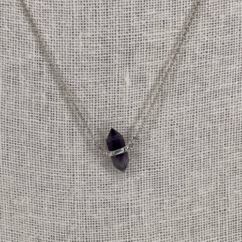 Sterling Silver Fluorite Double Point Necklace