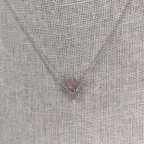 Sterling Silver Rose Quartz Double Point Necklace