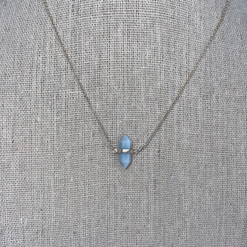 Sterling Silver Blue Opal Double Point Necklace