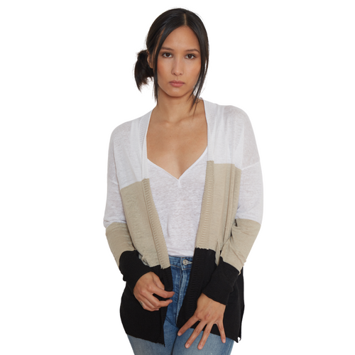 Linen Cardigan with Pockets Stripe
