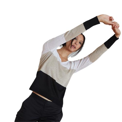 Linen Soft Sweater V-Neck Stripe
