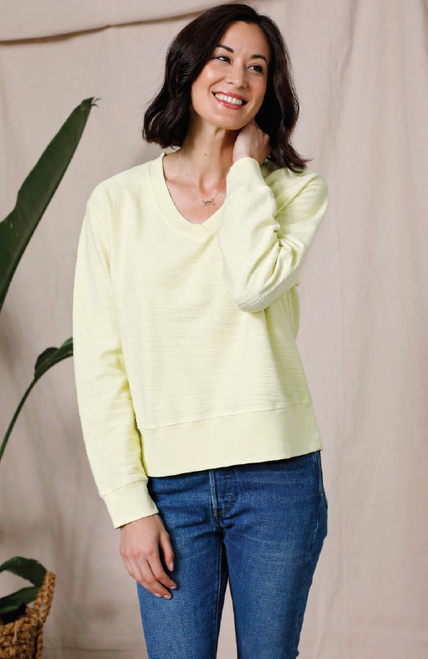 Boxy V-neck Sweatshirt