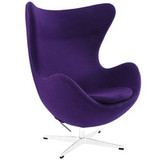 Glove Aluminum Rotating Base Wool Lounge Chair in Purple