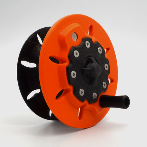 Standard spare spool for El Hefe 3d printed fly reel.  Constructed using PETG, Polycarbonate and Delrin plastics with 316SS hardware with an embedded tungsten counter-weight