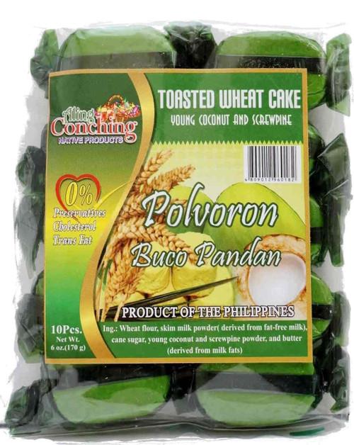 Aling Conching Toasted Wheat Cake Polvoron Buco Pandan 170g