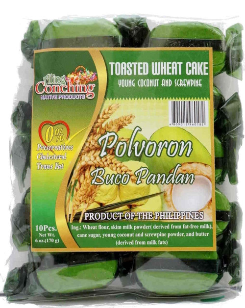 Aling Conching Toasted Wheat Cake Polvoron Buco Pandan 170g