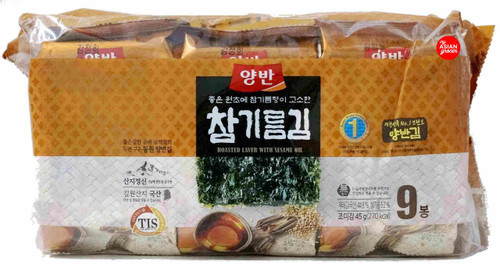 Yangban Roasted Laver with Sesame Oil 5g x 9 Pack