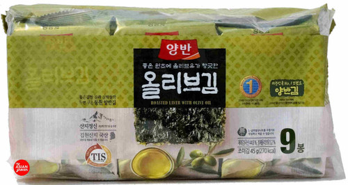 Yangban Roasted Laver with Olive Oil 5g x 9 Pack