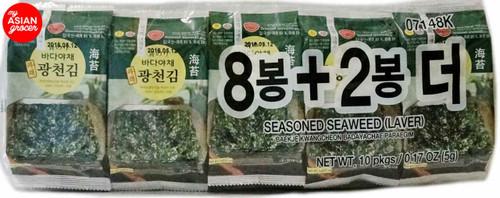 Baekje Seasoned Seaweed (Laver) 5g x 10 pkgs