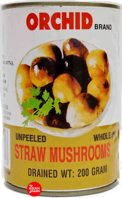 Orchid Brand Unpeeled Whole (M) Straw Mushrooms 200g