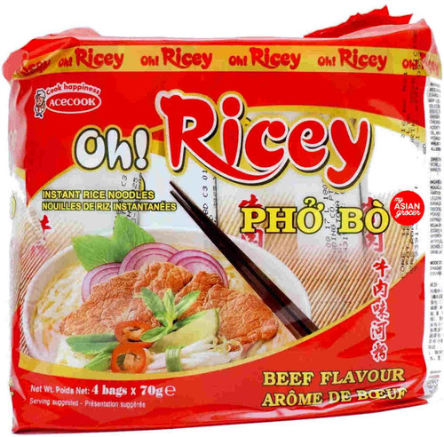 Acecook Oh! Ricey Pho Bo Instant Rice Noodles 70g x 4 Pack
