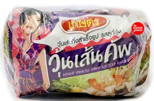 Kaset Brand Instant Vermicelli Shrimp Suki Soup Flavor 45g x 4 Pack