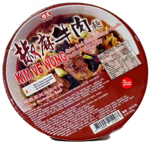 Kim Ve Wong Spicy Beef Flavour Instant Noodle with Real Beef 202g