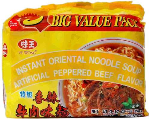 VE Wong Instant Oriental Noodle Soup Artificial Peppered Beef Flavor 90g x 5 Pack