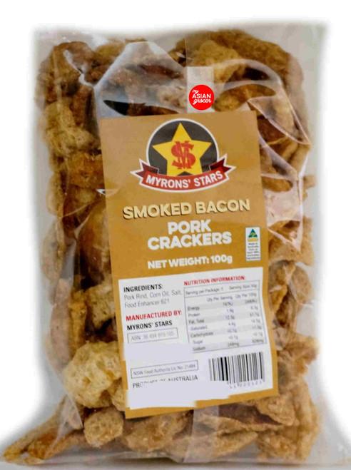 Myrons' Stars Smoked Bacon Pork Crackers 100g