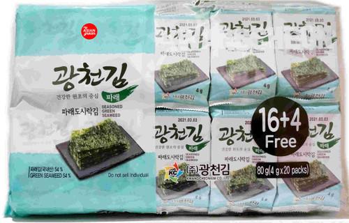 Kwangcheonkim Seasoned Green Seaweed 4g x 20 Packs
