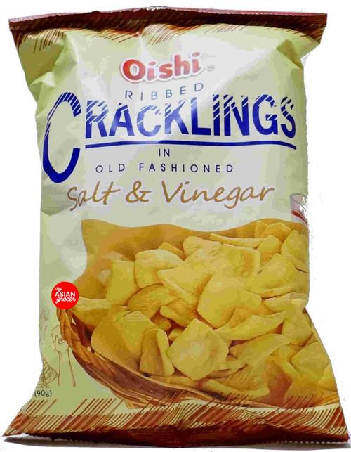 Oishi Ribbed Cracklings in Old Fashioned Salt & Vinegar 90g