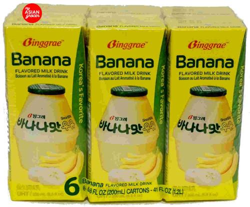 Ginggrae Banana Flavored Milk Drink 200ml x 6 Pack