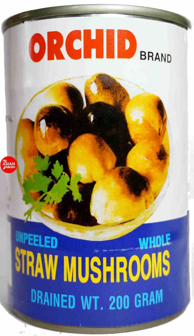 Orchid Brand Unpeeled Whole Straw Mushrooms 425g