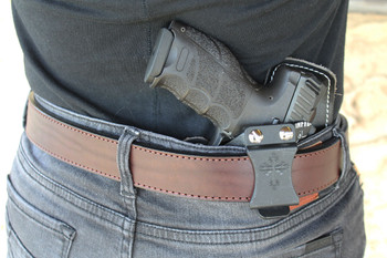 Brown belt with holster