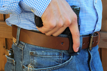 Brown EDC Leather Gun Belt With Holster