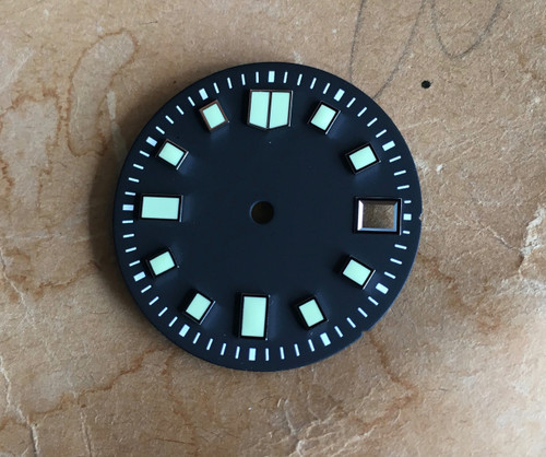 C5 Lume 6105 Dial Diver's for Seiko 7S26 NH35 Watch Movement 2 Positiions Green Superluminova