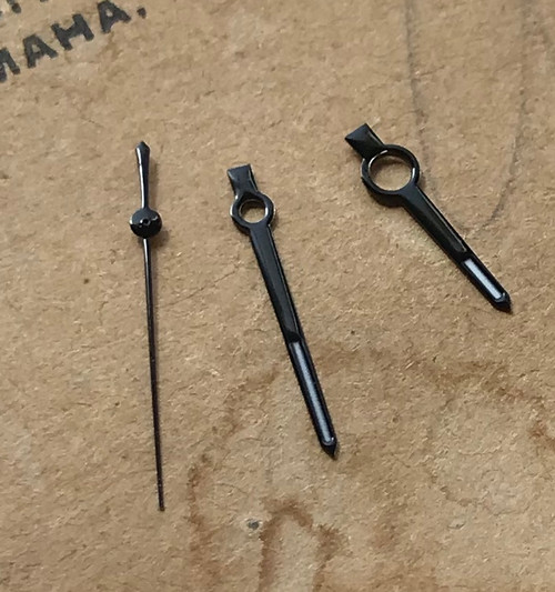 All Black Traditional Hands  for Jadur Lemania Wakmann Breitling Style Watch Valjoux 7750