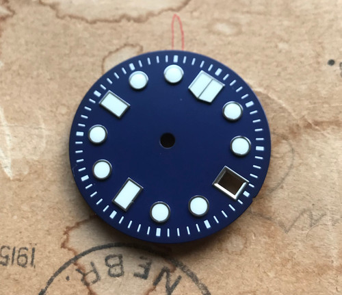 White Lume Deep Blue MM Marine Master Dial Seiko MOD Diver's Watch 7S26 NH35 Movement