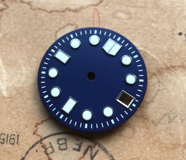 White Lume Deep Blue MM Marine Master Dial Seiko MOD Diver's Watch 7S26 NH35 Movement