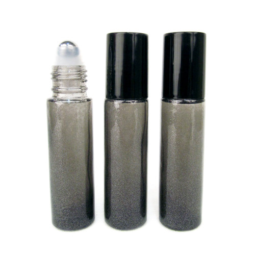 10ml Granite Gray Roll On Bottle with Stainless Steel Ball - Set of 3
