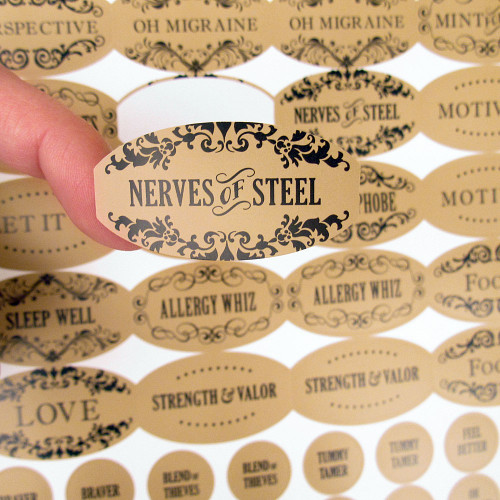 120 Apothecary Poly Weatherproof Labels Plus 120 Cap Labels for Essential Oil Products
