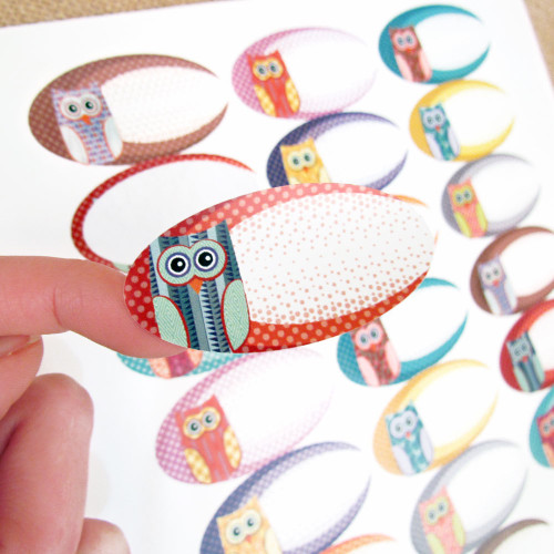 81 Cute Owl Design Weatherproof Poly Labels + 81 Round Stickers for Essential Oil Products