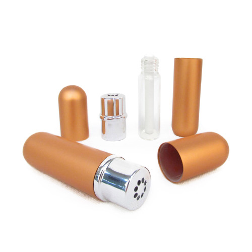 Copper Color Aluminum & Glass Refillable Essential Oil Personal Nasal Inhaler