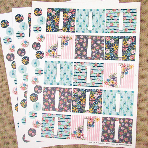 Wildflower Poly Weatherproof Labels for EO Bottles or Lip Balm Tubes - 45 Labels + 45 Bottle Top Rounds