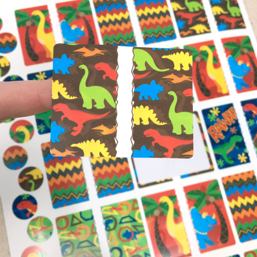 Dinosaur Rectangle Poly Weatherproof Labels for EO Bottles or Lip Balm Tubes - 45 Labels + 45 Bottle Top Rounds