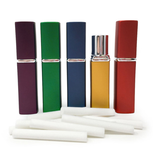 New Design! Jewel Tone Square Aluminum & Glass Refillable Essential Oil Personal Inhalers - Set of 5 **Buy 6 or more $8.95 each**