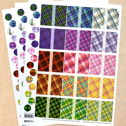 Perfect Plaids Rectangle Poly Weatherproof Labels for EO Bottles or Lip Balm Tubes - 45 Labels + 45 Bottle Top Rounds