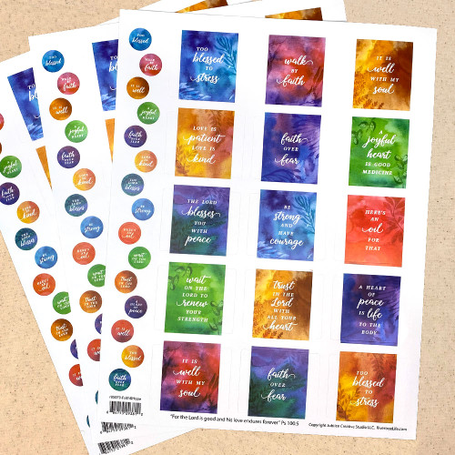 45 Faith & Hope Poly Weatherproof Labels + 45 Round Stickers - for Essential Oil Aromatherapy Bottle or Lip Balm Labels By Rivertree Life