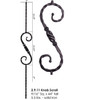 "HF2.9.11 5"" S-Scroll Hammered Baluster with Knob"