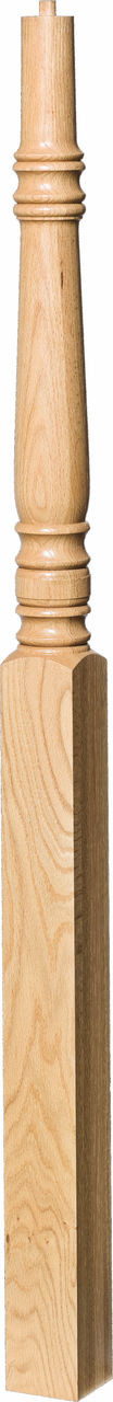 """4275 60"""" Pin Top Starting Newel Post, Shown in Red Oak"""