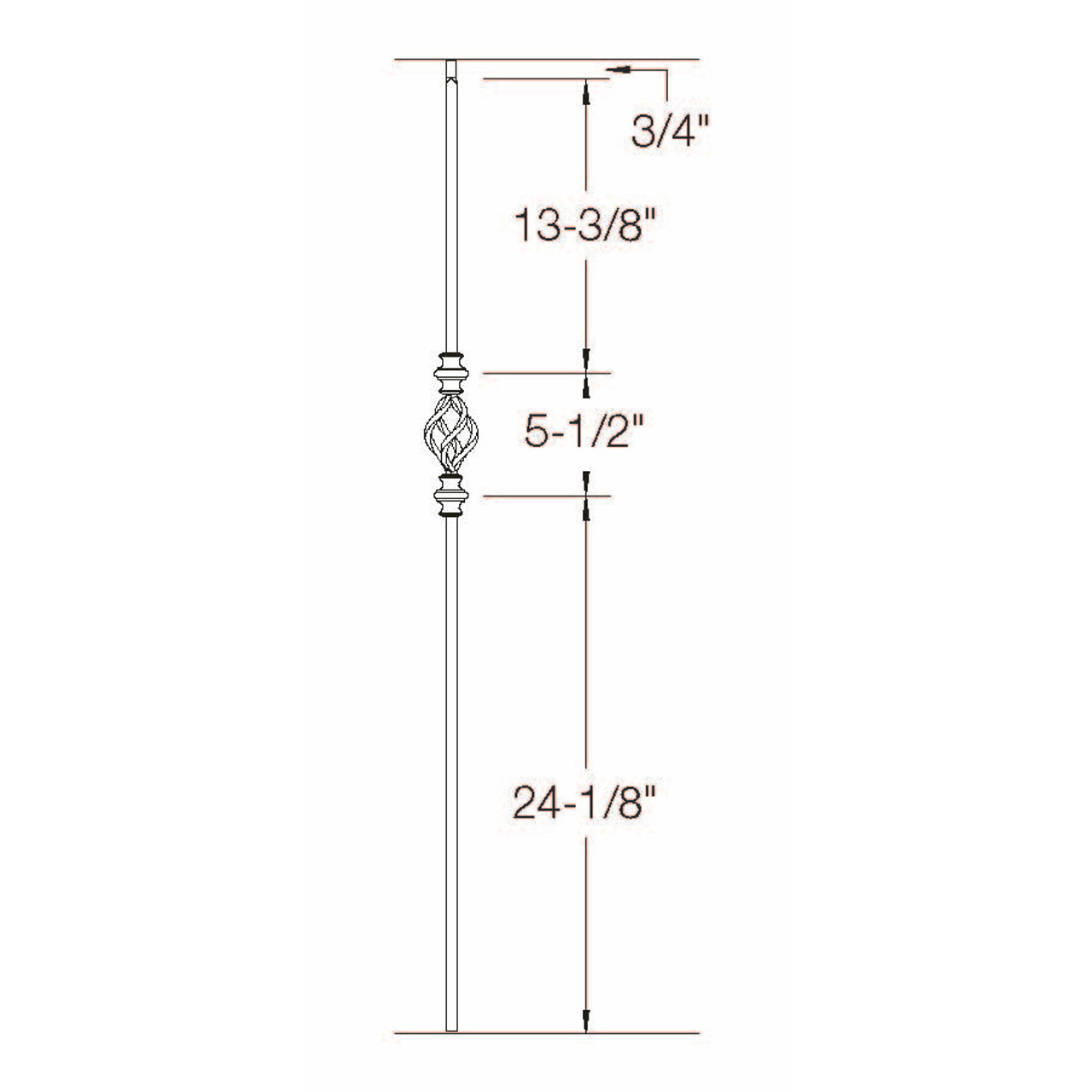 T-62 Single Basket with Double Knuckle Baluster Dimensional Information