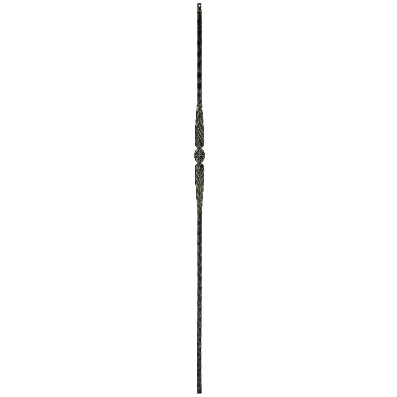 T-21 Flower with Arrows Edge Hammered Tubular Steel Baluster