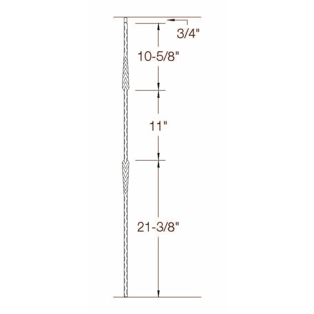 T-22 Split Arrows Edge Hammered TubDimensional Information