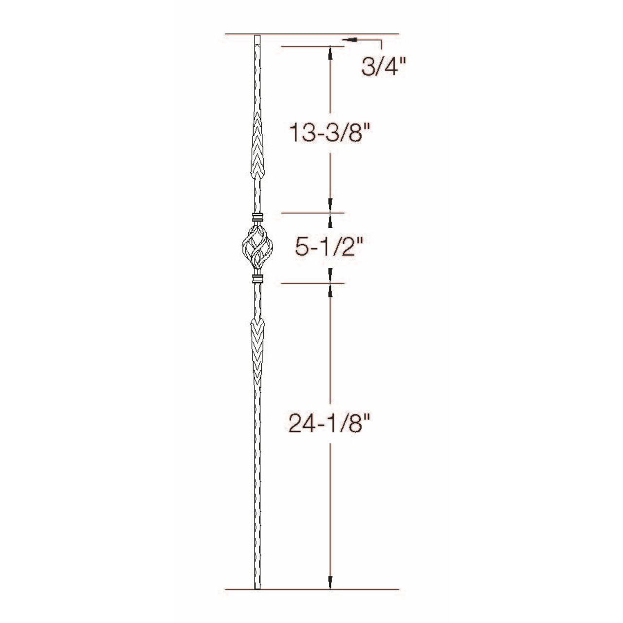 T-23 Split Double Arrows with Basket Edge Hammered Tubular Steel Baluster Dimensional Information