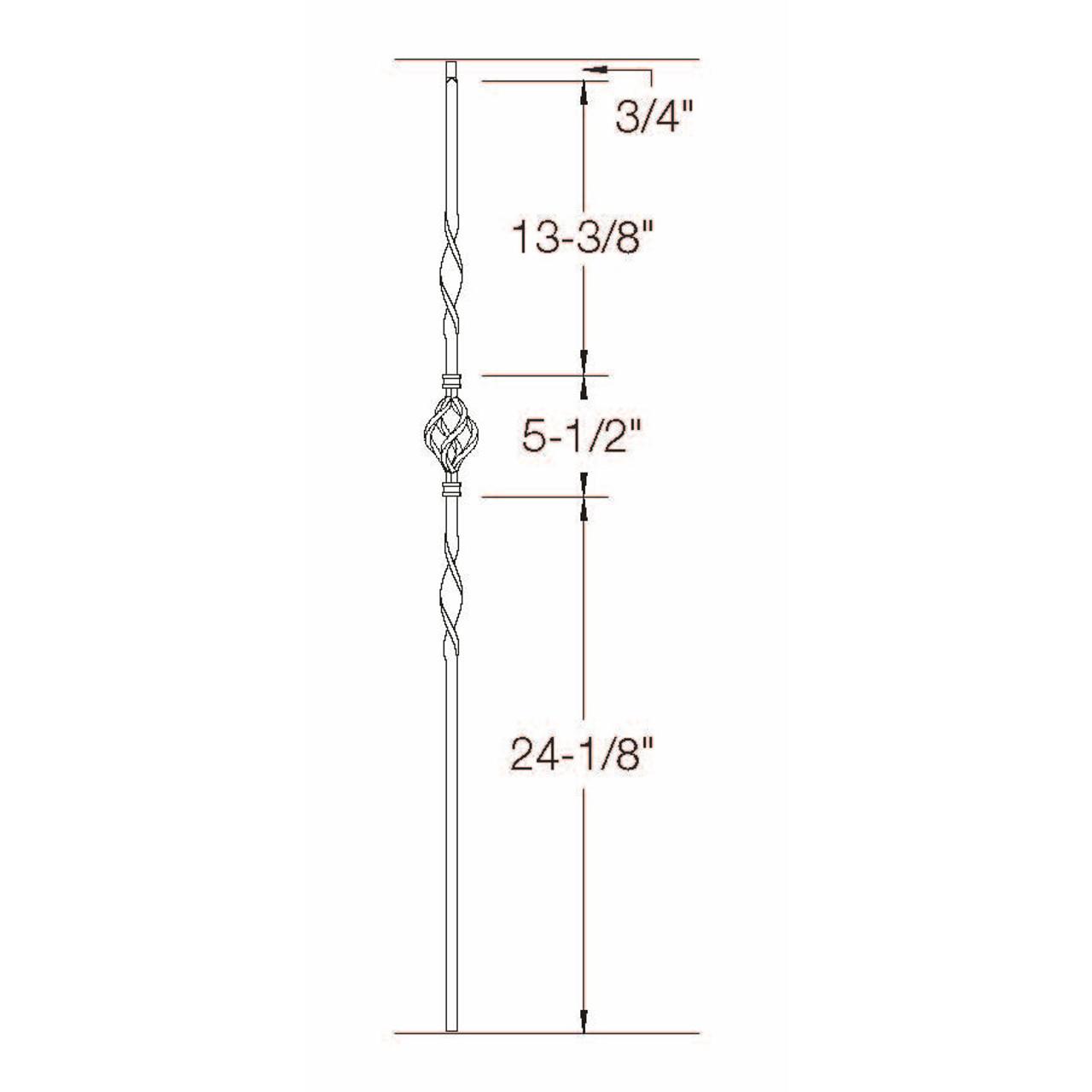 T-08 Single Basket, Double Ribbon, Tubular Steel Dimensional Information