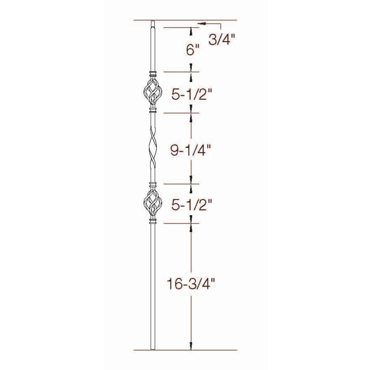 T-09 Double Basket, Single Ribbon, Tubular Steel Dimensional Information