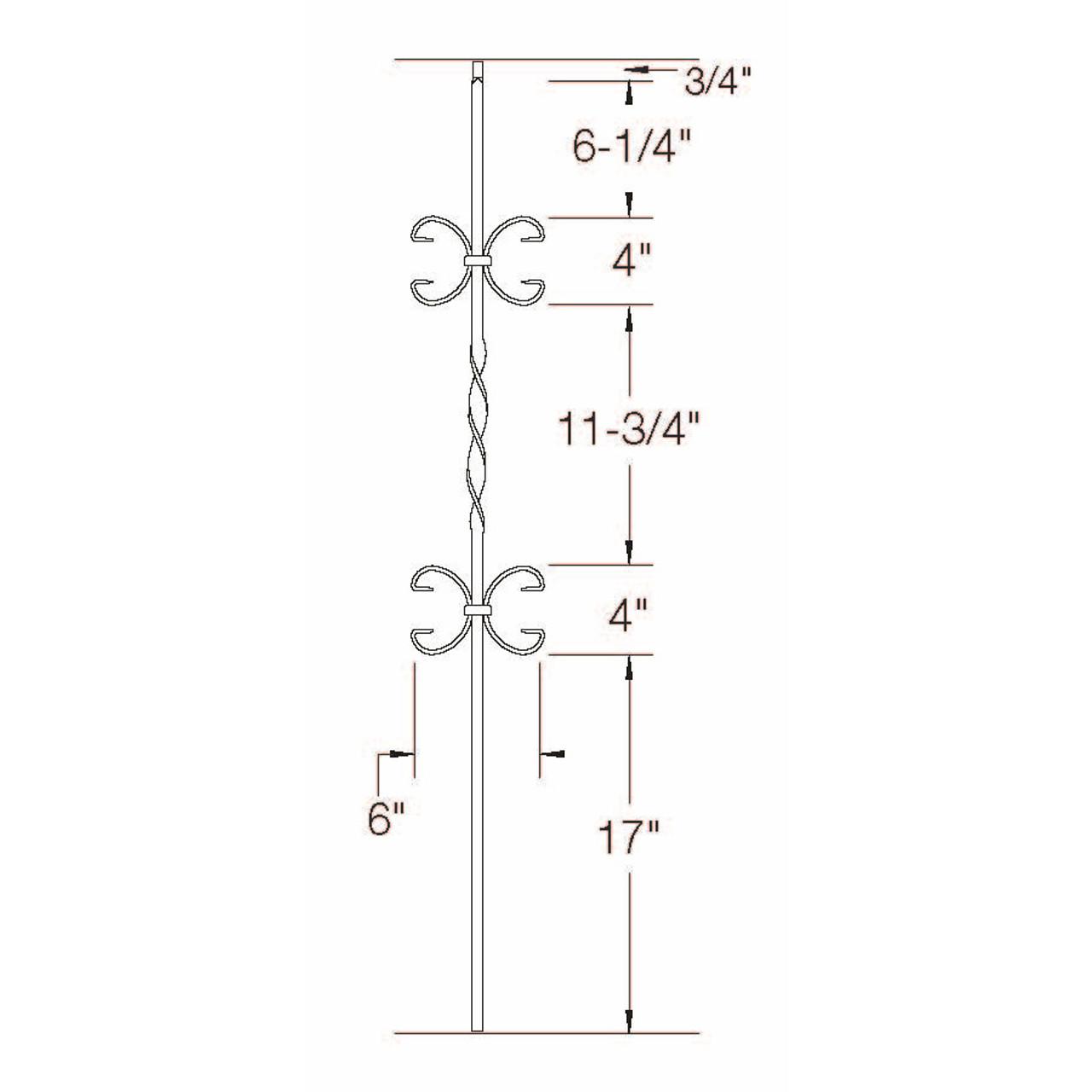 T-11 Double Butterfly, Single Ribbon, Tubular Steel Dimensional Information