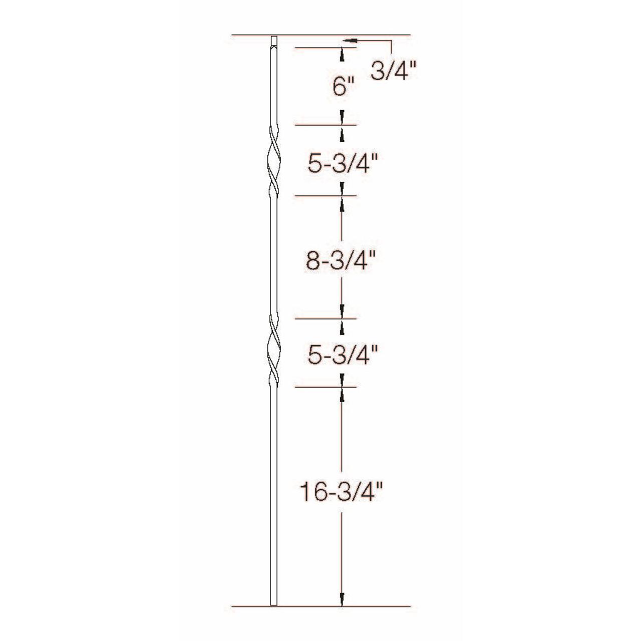 2G07 16mm Double Ribbon, Tubular Steel Dimensional Information