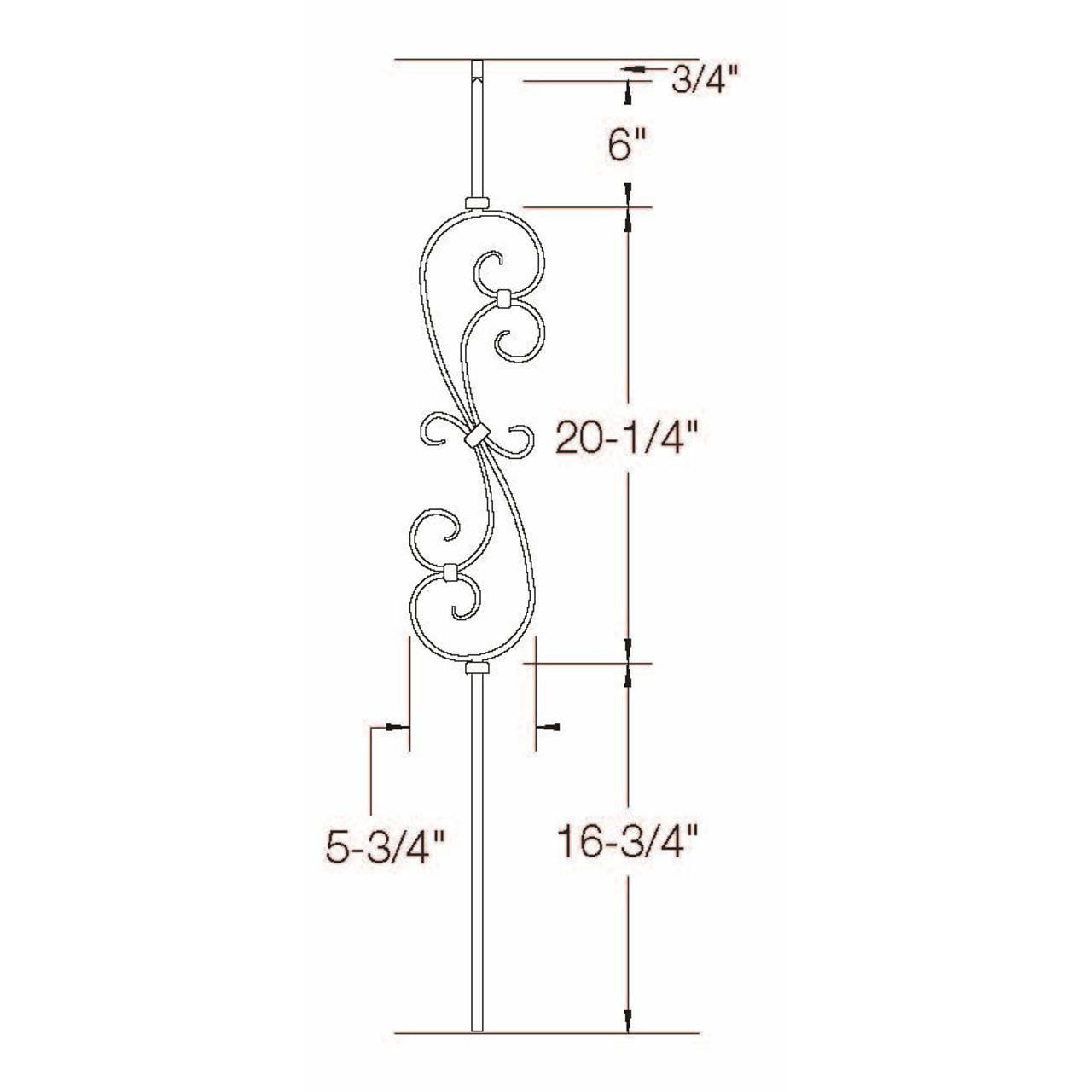 2G56 16mm S-Scroll, Tubular Steel Dimensional Information