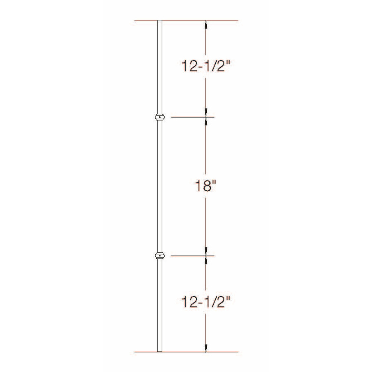 2GR20 16mm Round Double Collar, Tubular Steel Dimensional Information